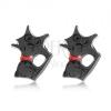 Bedugós fülbevaló, fényes, fekete macska piros nyakörvvel