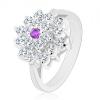 Ezüst színű gyűrű, nagy átlátszó virág lila cirkóniával középen