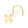 14K sárga arany orrpiercing - kis fényes X betű, ívelt