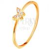 585 sárga arany gyűrű - pillangó cirkóniákkal díszítve