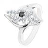 Ezüst árnyalatú gyűrű, átlátszó cirkóniás vonal, fekete cirkónia középen