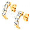 585 arany fülbevaló - kis, csillogó ív kerek és átlátszó cirkóniákból