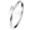 585 arany gyűrű - csillogó átlátszó gyémánt négyes foglalatban, fehér arany