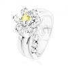Csillogó gyűrű, ívelt szár, cirkóniás virág sárga és átlátszó színben