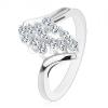 Gyűrű ezüst árnyalatban, ívelt szárak, csillogó átlátszó cirkóniák