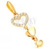 Medál 14K sárga aranyból - három függő szív, átlátszó cirkóniák