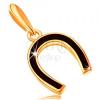 Medál 14K sárga aranyból - patkó fényes, fekete fénymázzal bevonva