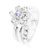 Gyűrű átlátszó és lila cirkóniás virág díszítéssel