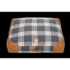Cazo Oxford matrac kutyáknak - barna és kockás szállítóbox, fekhely kutyáknak