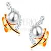 585 arany fülbevaló - fehér kerek gyöngy nem teljes szem körvonalban, átlátszó cirkóniák
