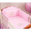 Prémium babaágynemű garnitúra 2 részes hímzett huzat - Szíves maci rózsaszín