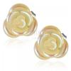 Vanília sárga rózsa virág szivárvány fénnyel, beszúrós fülbevaló