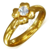 Aranyozott gyűrű sebészeti acélból átlátszó cirkóniával - virág