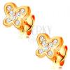 14K sárga arany fülbevaló - csillogó pillangó cirkóniákkal díszítve