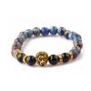 Kék jáspis achát ásvány karkötő arany oroszlánnal