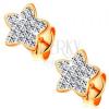 Fülbevaló sárga 14K aranyból - csillogó csillag, átlátszó Swarovski kristályok