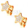 Fülbevaló 14K sárga aranyból - csillag átlátszó kerek zirkóniákkal díszítve