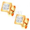 Fülbevaló kombinált 14K aranyból - kis négyzet átlátszó cirkóniákkal díszítve