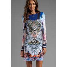 Absztrakt mintás hosszú újjú ruha
