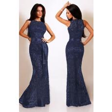 Ebűvölő nay kék csipkés sellő estélyi ruha