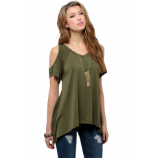 Army Green V-nyakú Top