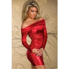 Piros színű Fényes anyagú Sexy Mini Ruha