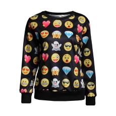 Smile-Emoji mintás Fekete Pulóver