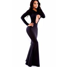 Fekete sellőhatású maxi ruha