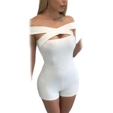 Sexy Fehér Keresztpántos Overál