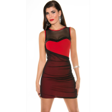 Piros-fekete hálós bodycon ruha