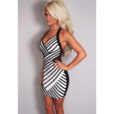 Fekete fehér karcsúsító csíkos ruha