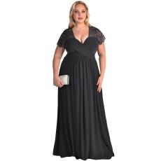 Fekete csipke magas derekú molett ruha