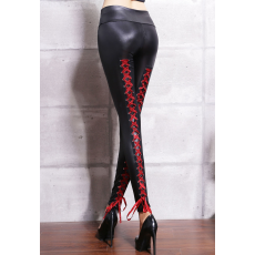 Sexy Latex Leggings Piros fűzővel