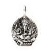 """""""Ganésa"""" antikolt ezüst lapmedál, a bőség hindi istene. A rögzített fülön 3,2 mm vastag lánc vagy bőr fér át. Hengeres keresztmetszetű antikolt lánccal bőrrel érdemes viselni. (Mérete: magasság × szélesség mm-ben)"""