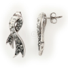 """""""Kristályszalag"""" fehér-Black Diamond színátmenetes, kristályokkal borított szalag bedugós fülbevaló ezüstből. (Méret: magasság × szélesség mm-ben)"""