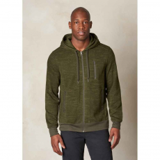 PRANA Performance Fleece Zip Hood Pulóver,sweatshirt D (M2PFZH316-p_DKOL-Dark Olive)