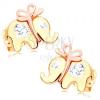 585 arany fülbevaló - aranyos elefánt masnival és átlátszó cirkóniával