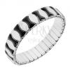 Széthúzható karkötő acélból, fényes elemek, fekete és ezüst színben