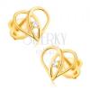 Fülbevaló 9K aranyból, - szív körvonal, egymáson áthaladó szárak, cirkónia