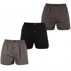 Lee Cooper Woven 3 darabos férfi boxeralsó fekete L