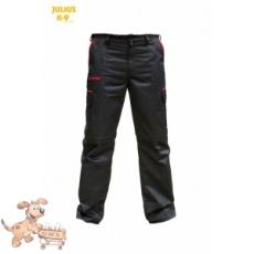 Julius-K9 K9 pamut nadrág, fekete-piros, cipzározható szárral - impregnált, - méret 38