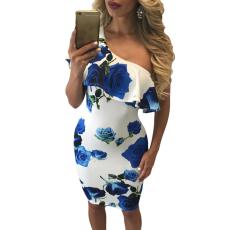 kék rózsás félvállas midi ruha