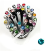 ". Golyóstoll, Crystals from SWAROVSKI®, fehér, 14cm""Elegante"", türkiz kristállyal"