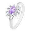 Ezüst színű gyűrű lila ovális cirkónia, átlátszó ívek