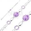 Karkötő 925 ezüstből, fényes elemek, lila cirkóniás virág, búzaszem körvonalak