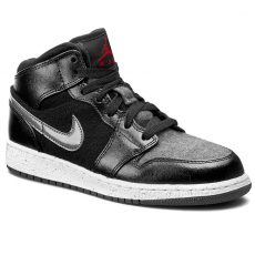 Nike Cipők NIKE - Air Jordan 1 Mid Prem Bg 852548 002 Black/Gym Red/Dark Grey/White