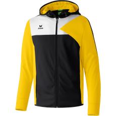 Erima Premium One Training Jacket with Hood fekete/sárga/fehér zippes felső