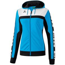 Erima 5-CUBES Training Jacket with Hood világos kék/fekete/fehér zippes felső
