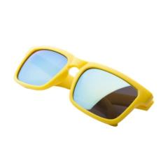 Matt műanyag napszemüveg, foncsorozott lencsével, Sárga
