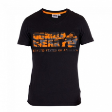 SACRAMENTO V-NECK T-SHIRT (BLACK/ORANGE) [M]
